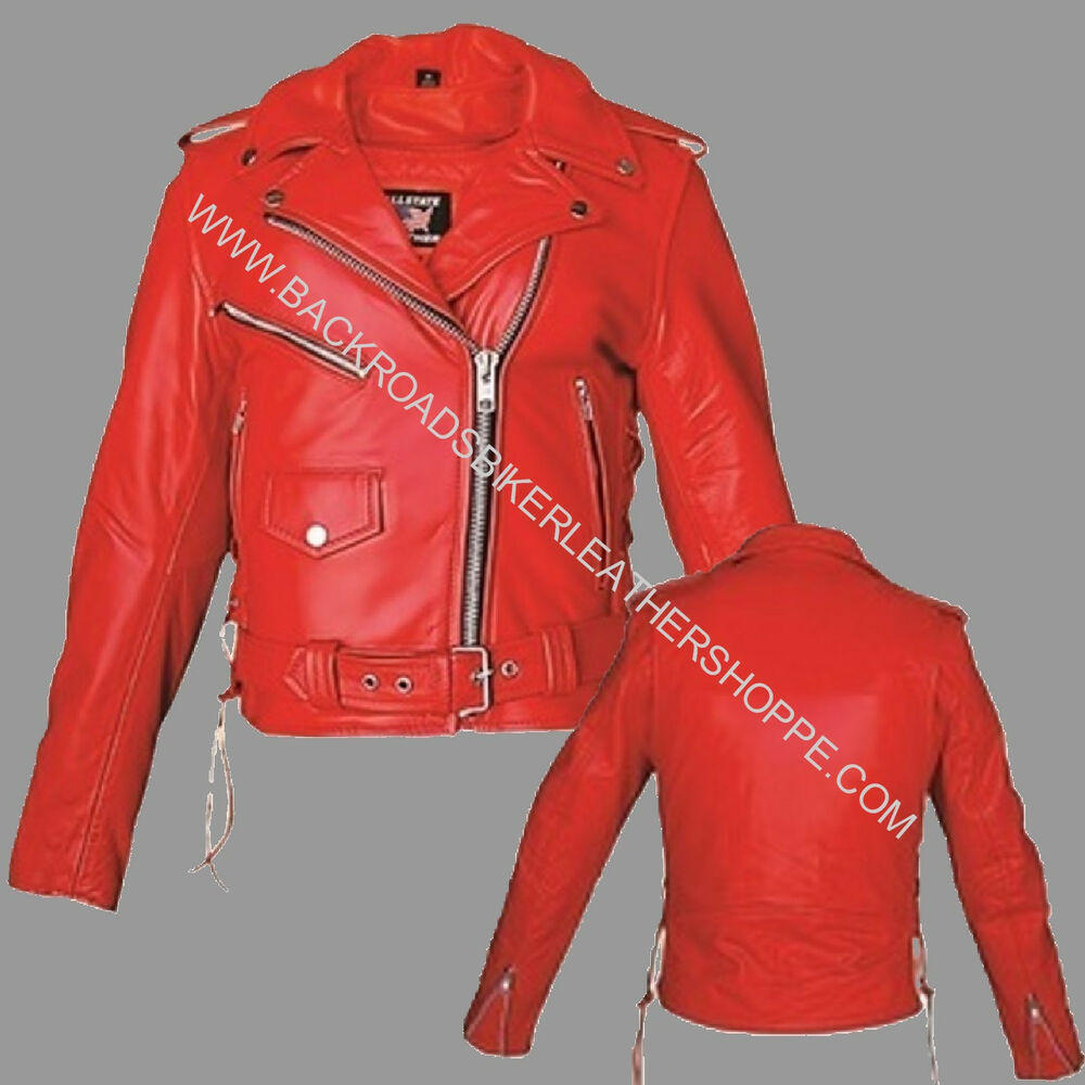Womens red motorcycle jacket