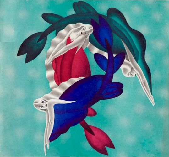 Art Of The Pinup: LARGE 20X24 CANVAS MERMAID DECO Pinup RARE Pin-up MODERN