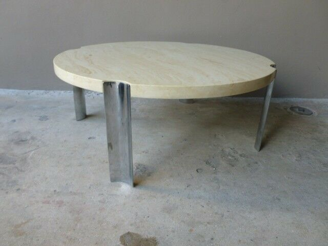 1970 39 s round selig faux marble flying saucer coffee table w 4 thick chrome legs ebay. Black Bedroom Furniture Sets. Home Design Ideas