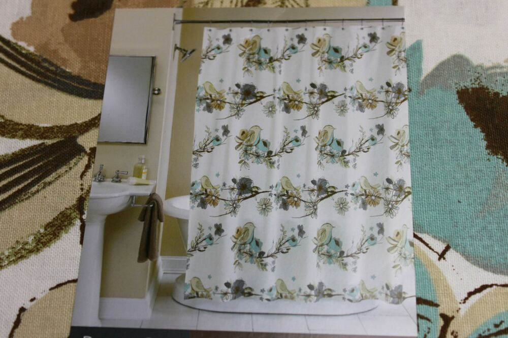 PERI BIRDS ON BRANCHES FABRIC SHOWER CURTAIN