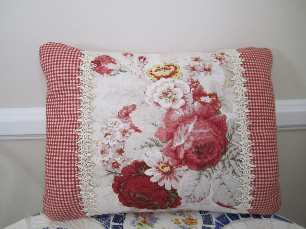 Waverly Red Norfolk Rose French Country Toile Accent Pillow Shabby Chic Floral eBay