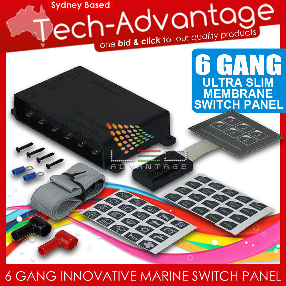 12v 6 Gang Led Switch Panel Waterproof Slim Touch Control