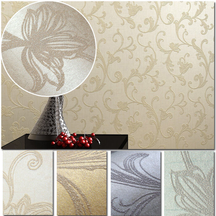 10m embossed damask art silver glittering wallpaper rolls for Wallpaper rolls clearance