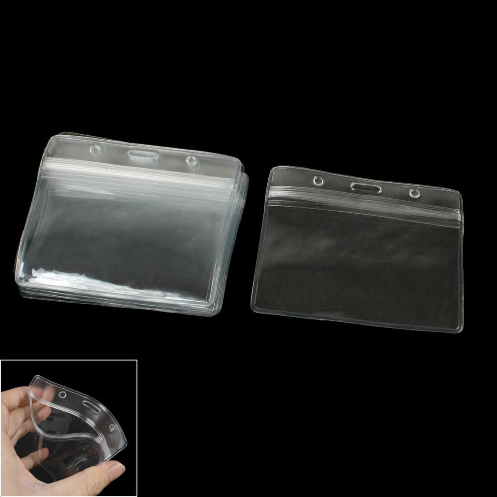 Office school clear plastic horizontal business id badge for Clear plastic business card holder