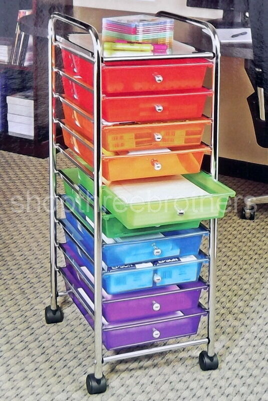 New 10 multi color drawers metal rolling cart scrapbook for Rolling craft storage cart