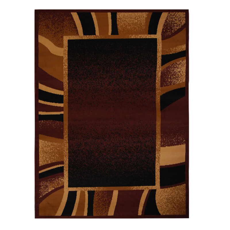 Brown Contemporary Border Area Rug 5x8 Modern Carpet