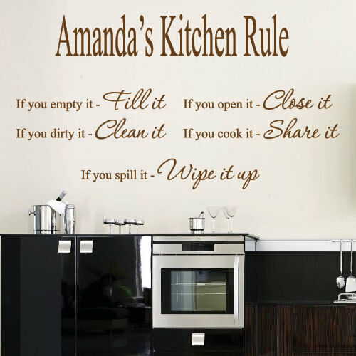 personalized name kitchen rule art wall quotes wall stickers wall