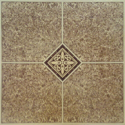 Brown Beige Vinyl Floor Tile 40 Pcs Adhesive Flooring