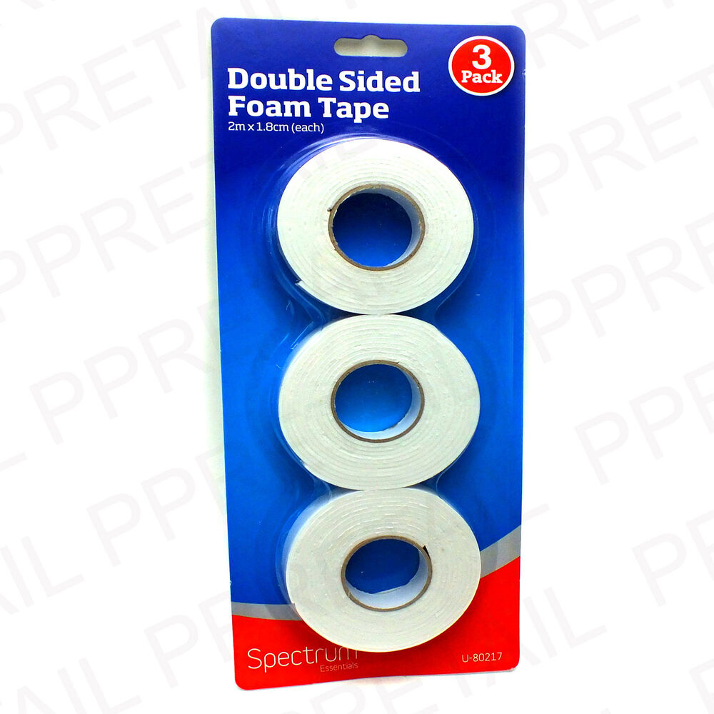 3 x 2 metre double sided mounting foam tape 1 8cm wide for Double sided craft tape