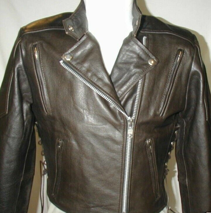 New Womens Retro Brown Premium Leather Vented Motorcycle