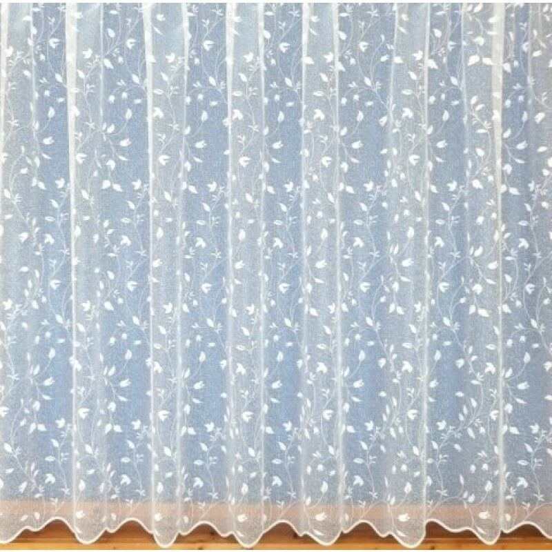 white lace net curtains floral scalloped border 3988 all