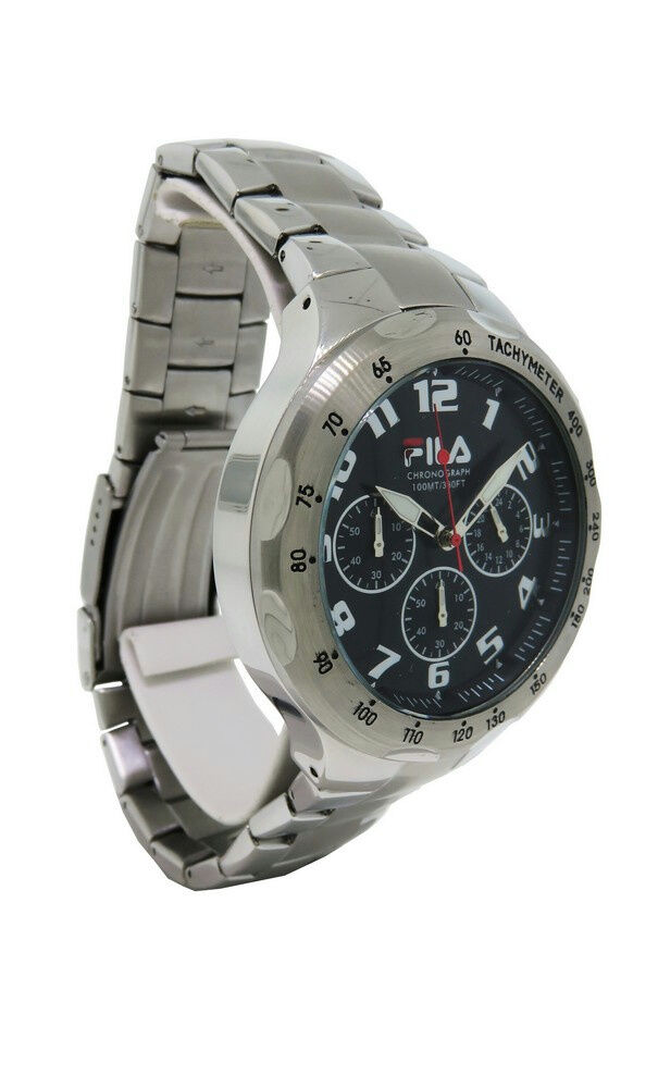 Fila fa0795 31 men 39 s stainless steel black chronograph analog watch ebay for Fila watches