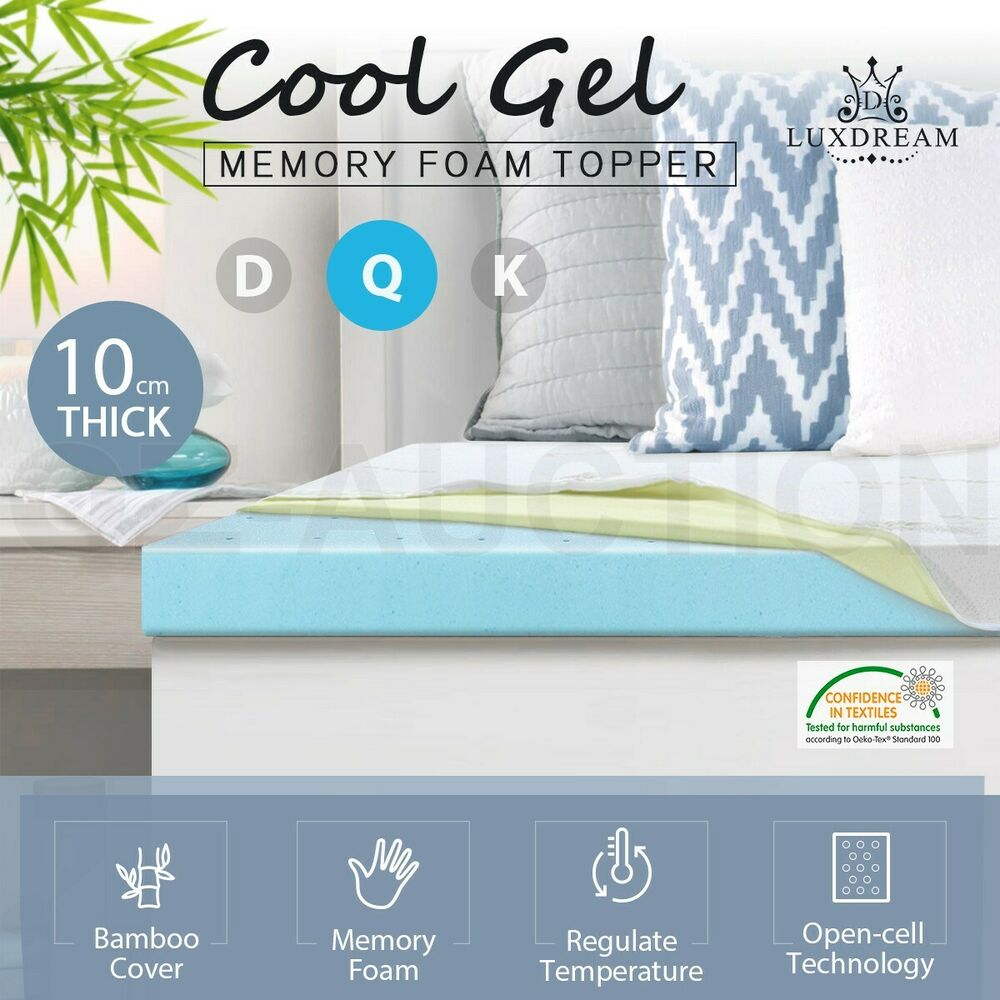 Luxdream 10cm Queen Size Cool Gel Memory Foam Topper Mattress