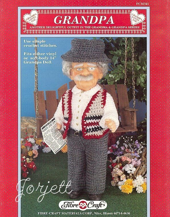 Grandpa fibre craft crochet patterns for 14 grandpa for Fibre craft 18 inch doll