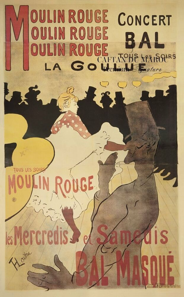 VINTAGE ART PRINT - Moulin Rouge La Goulue - LAUTREC ...