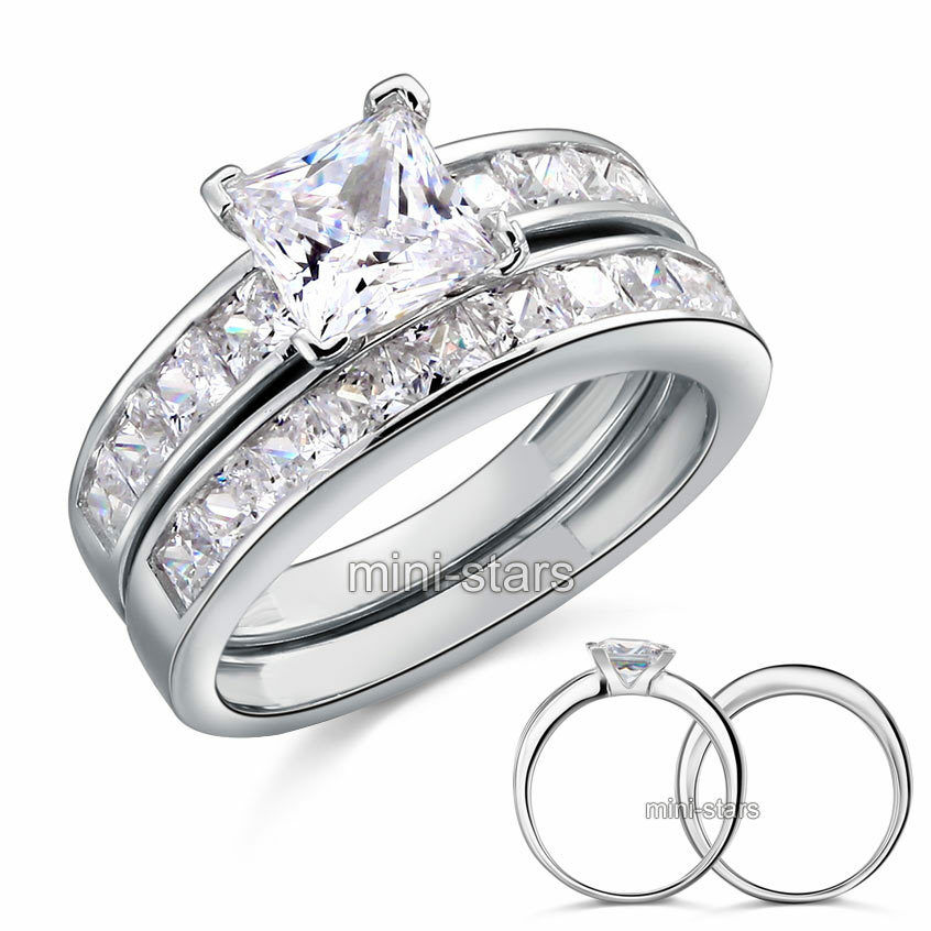 Cut Created Diamond 925 Sterling Silver 2Pc Ring Set FR8020  eBay