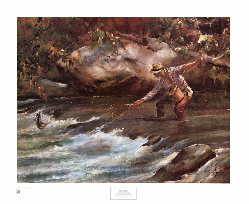Fly fishing art print trout stream by james m sessions for Fly fishing posters