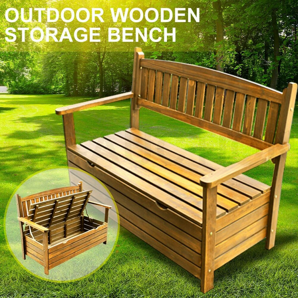 Details about wooden garden storage box timber bench chair outdoor furniture 2 seat chest