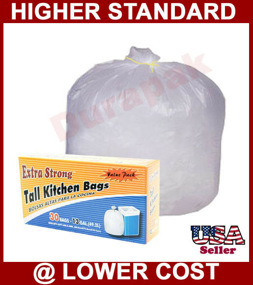 168~ 13 Gallon White Tall Kitchen Trash Can Liner Bags