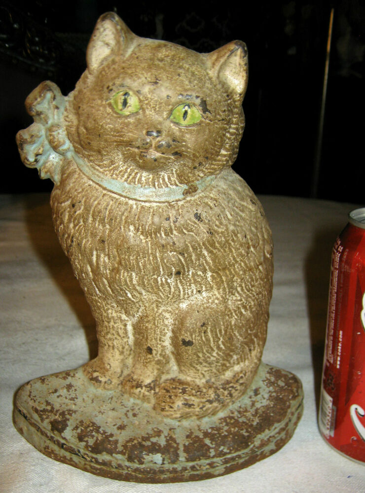 Antique Hubley Cast Iron Cat With Bow Home Art Statue
