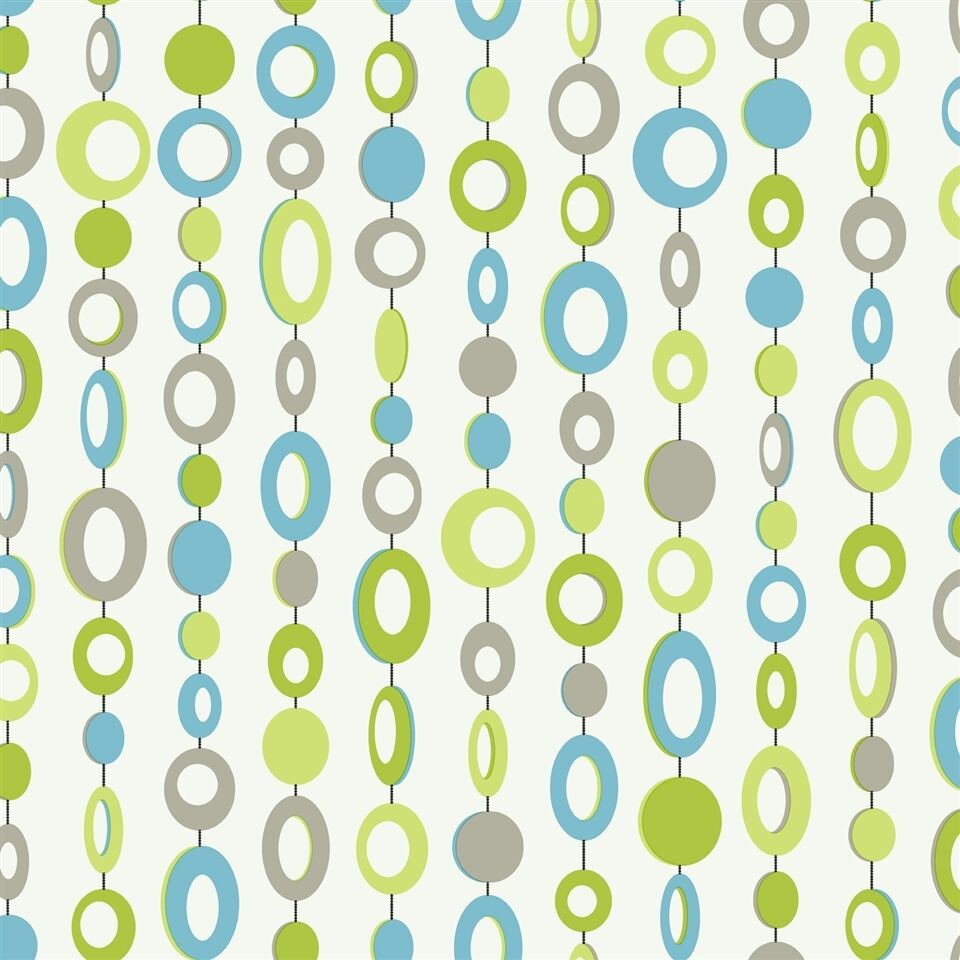 Girls retro blue lime green beaded curtain on white for Lime and blue