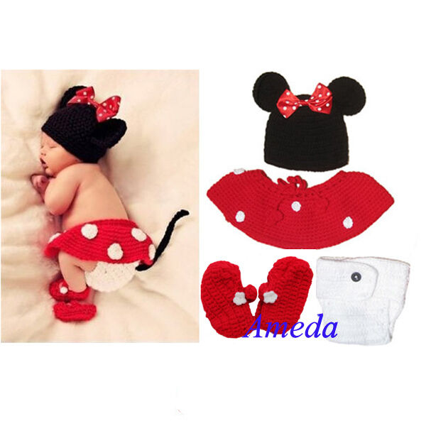 Newborn Girl Baby Hat+Skirt+Diaper Cover+Shoes Minnie ...