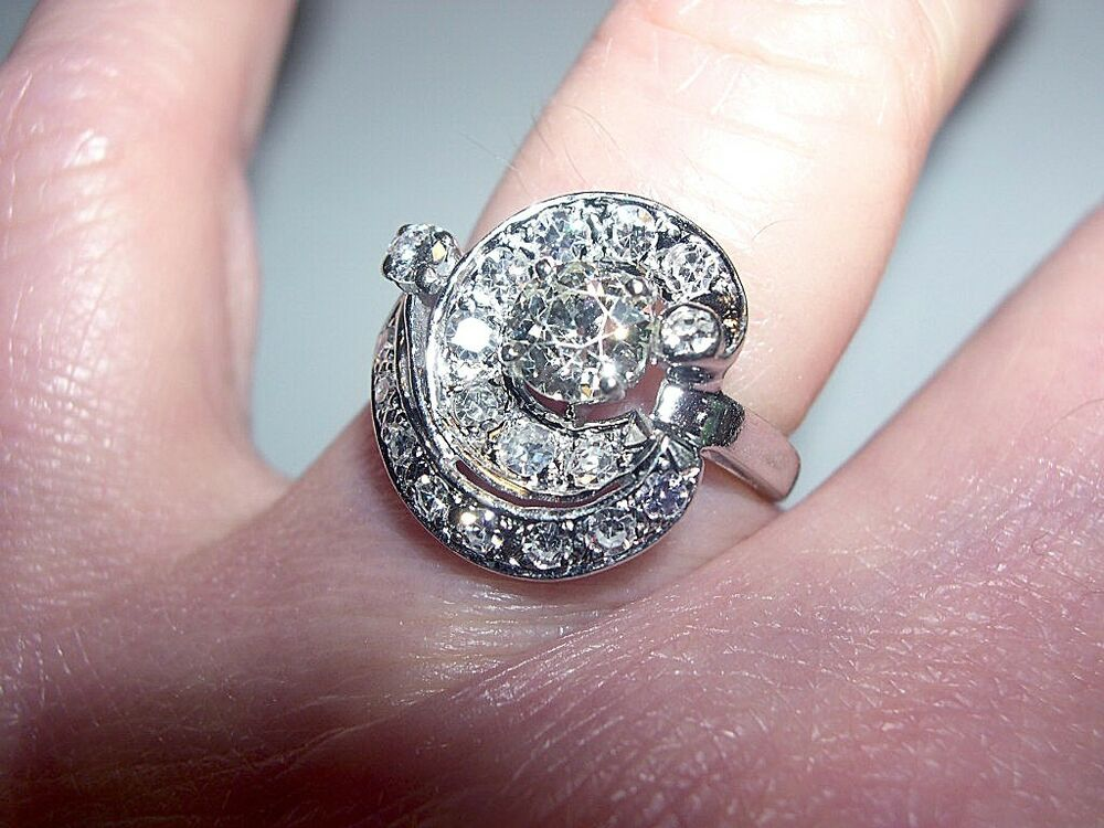Vintage White Gold Diamond European Cut Galaxy Swirl