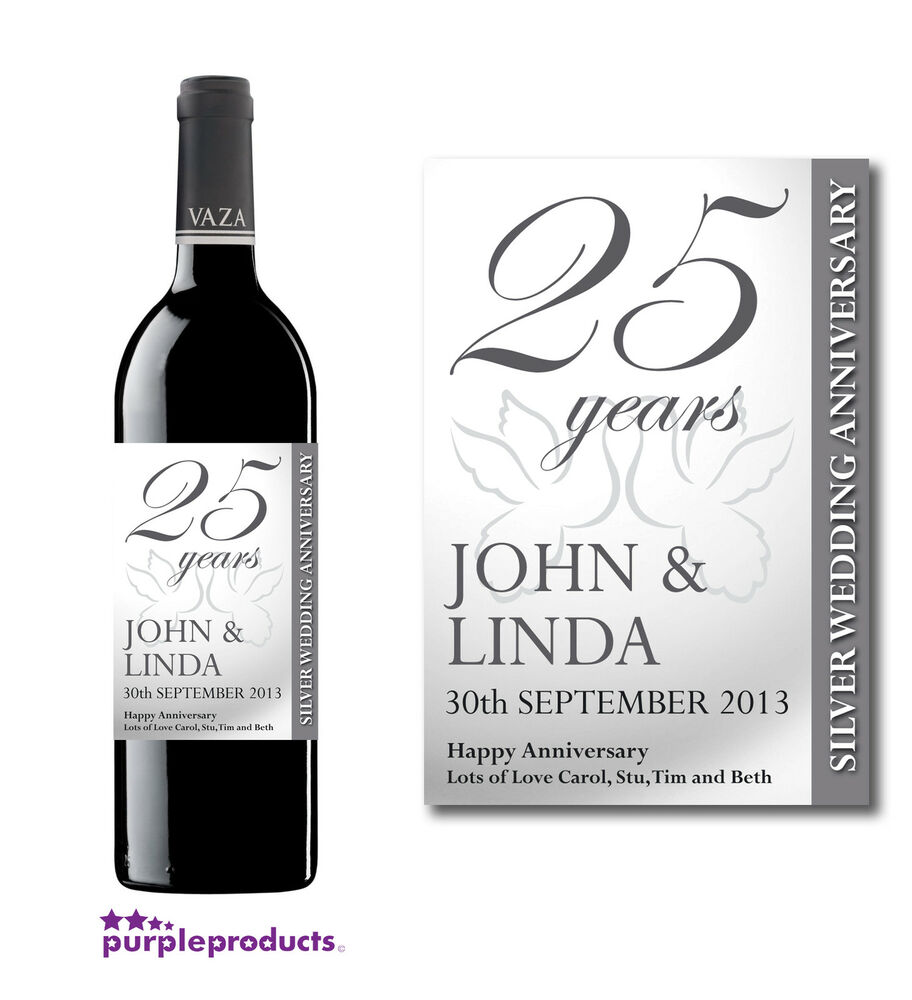 Personalised Keep Calm And Drink Wine Bottle Label Labels: PERSONALISED 25th SILVER WEDDING ANNIVERSARY WINE
