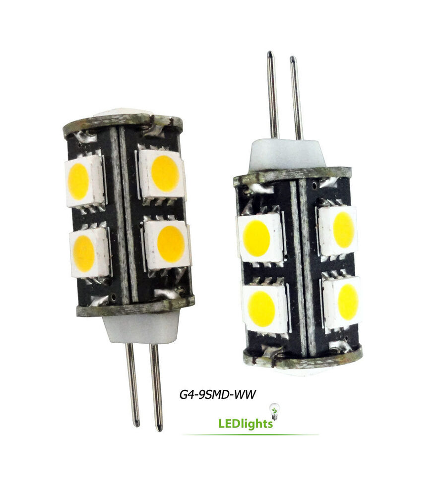 2 g4 base led light bulbs 12v ac dc for landscape lighting 9smd 5050 jc10 bi pin ebay. Black Bedroom Furniture Sets. Home Design Ideas
