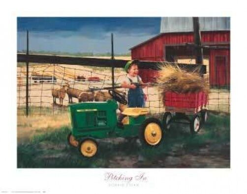 Pitching In By Donald Zolan Art Print John Deere Tractor