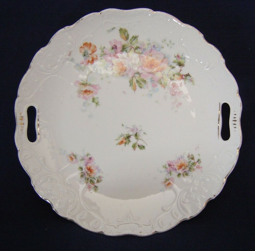 Vintage Embossed China Plate Pink Roses Gold Trim Open