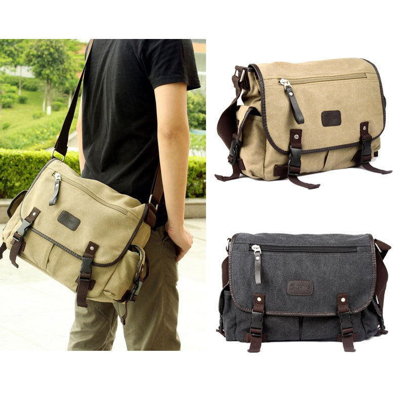 Men Canvas Vintage Leather Messenger School Book Bag ...