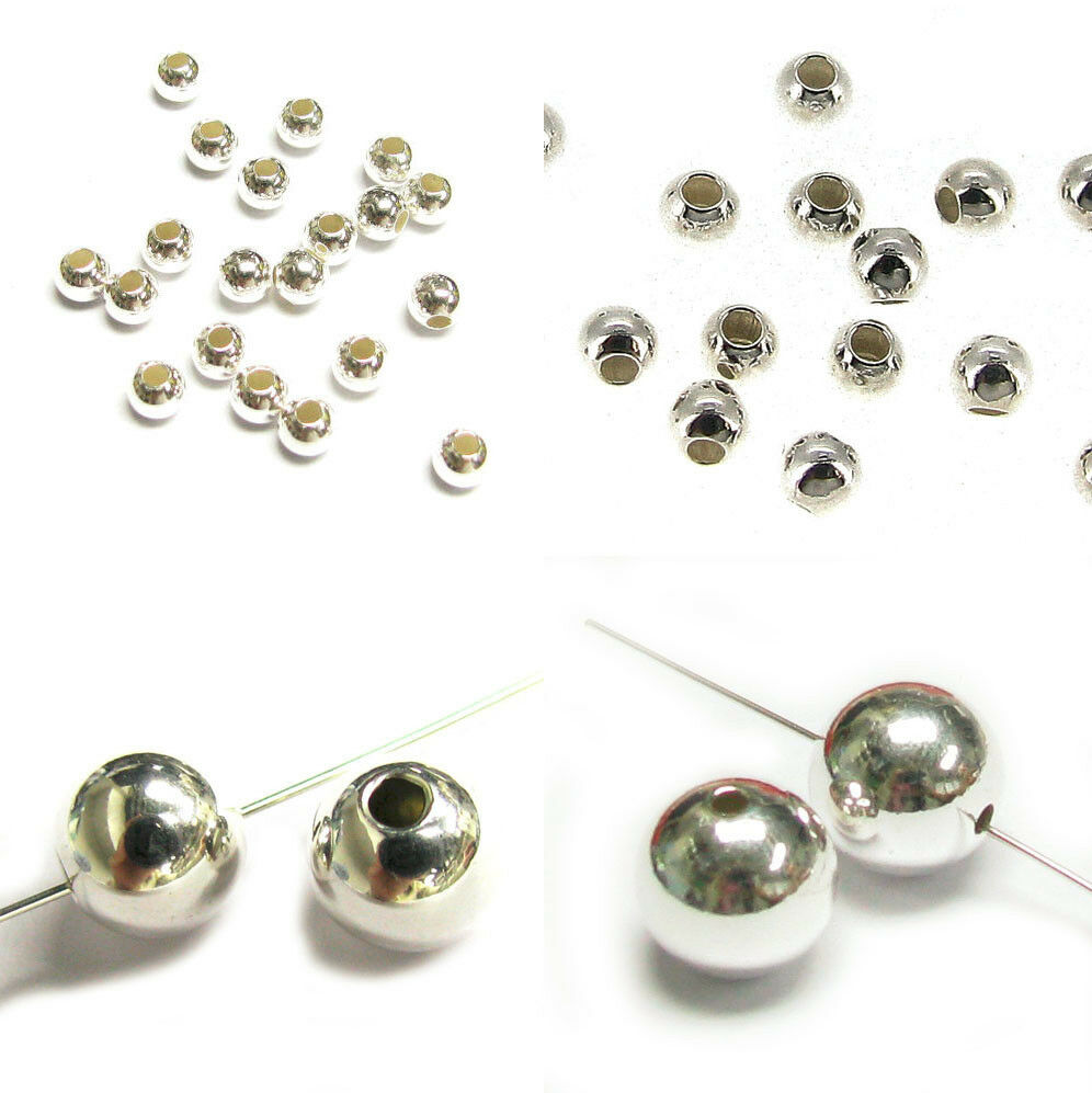Silver Beads: Sterling Silver Round Seamless Bead Spacer 2mm 3mm 4mm 6mm