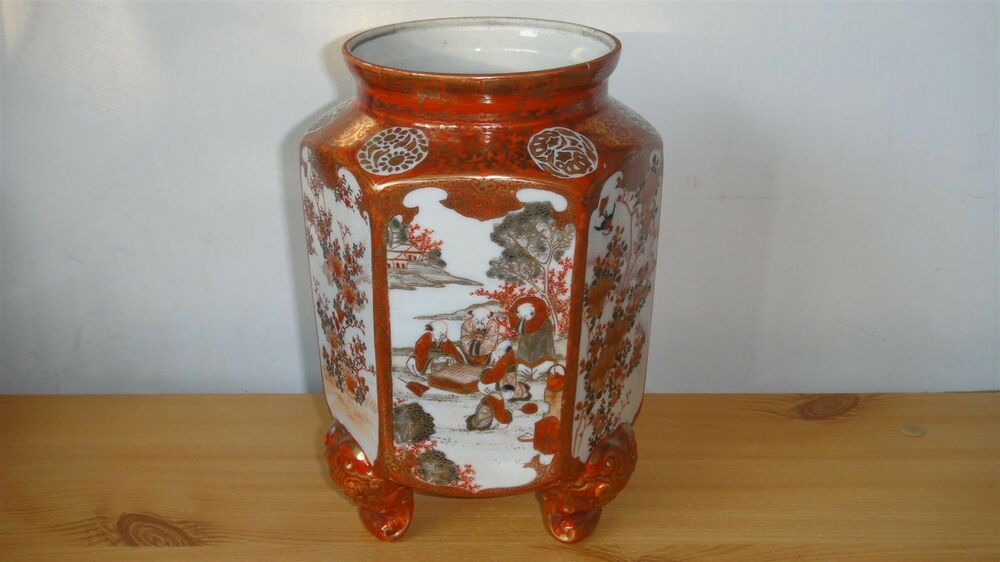 Rare Antique Kutani Japanese Porcelain 3 Legs Hexagonal Vase 6 Character Signed Ebay