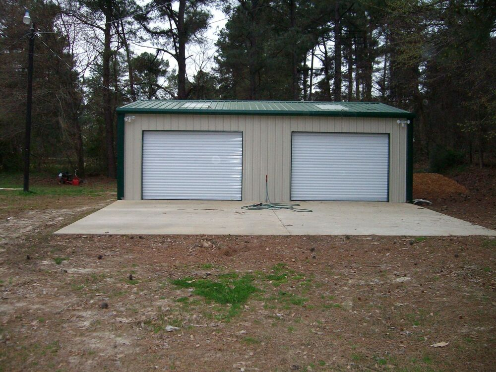 Steel metal 2 car garage building kit 576 sq workshop barn for How big is two car garage