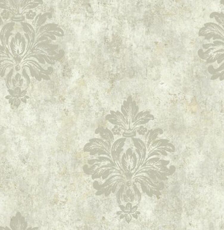 Wallpaper Designer Gray Taupe Big Damask With Glitter On