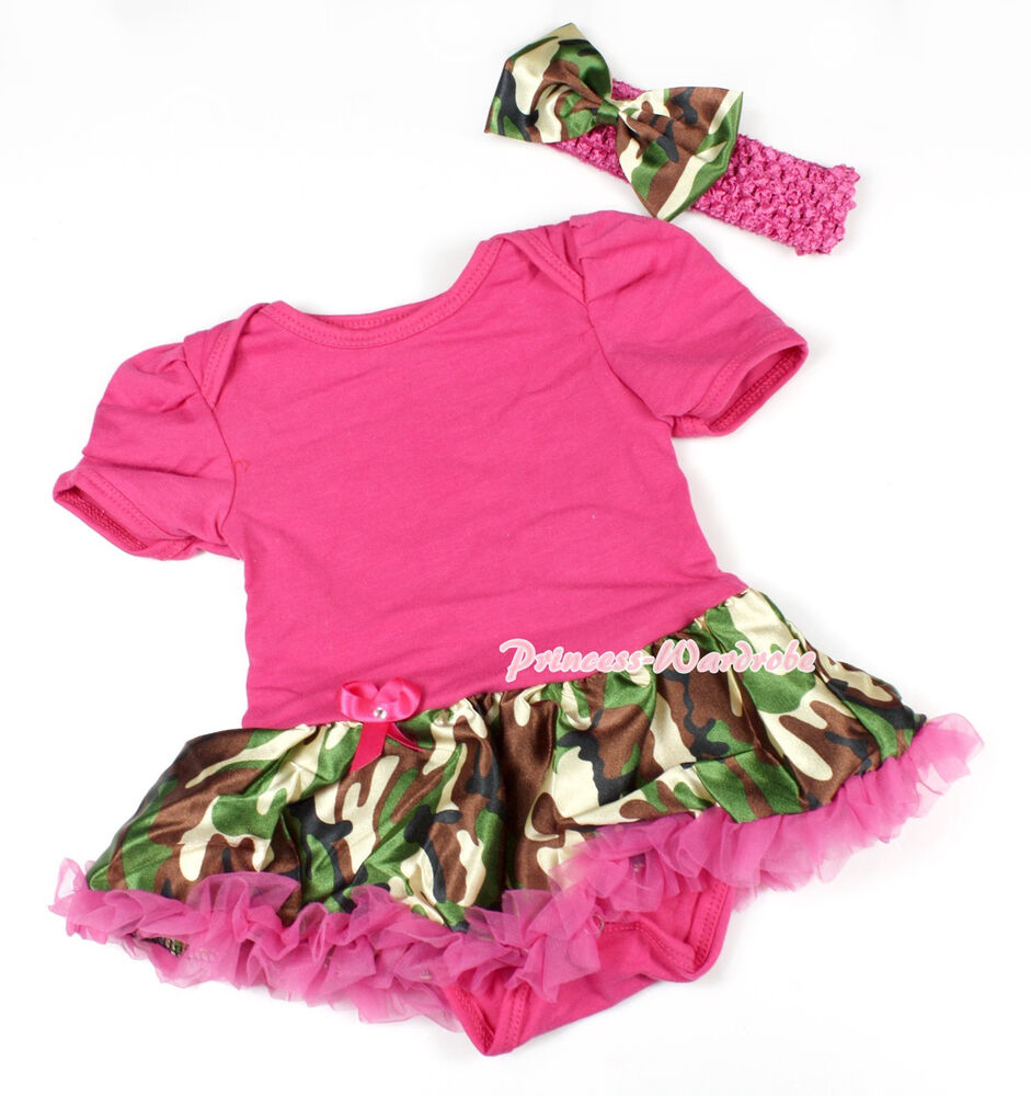 Toddler Hot Pink Bodysuit Jumpsuit Romper Camouflage Camo