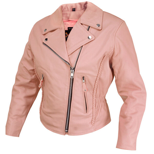 Womens New Dusty Rose Pink Leather Motorcycle Biker Jacket ...