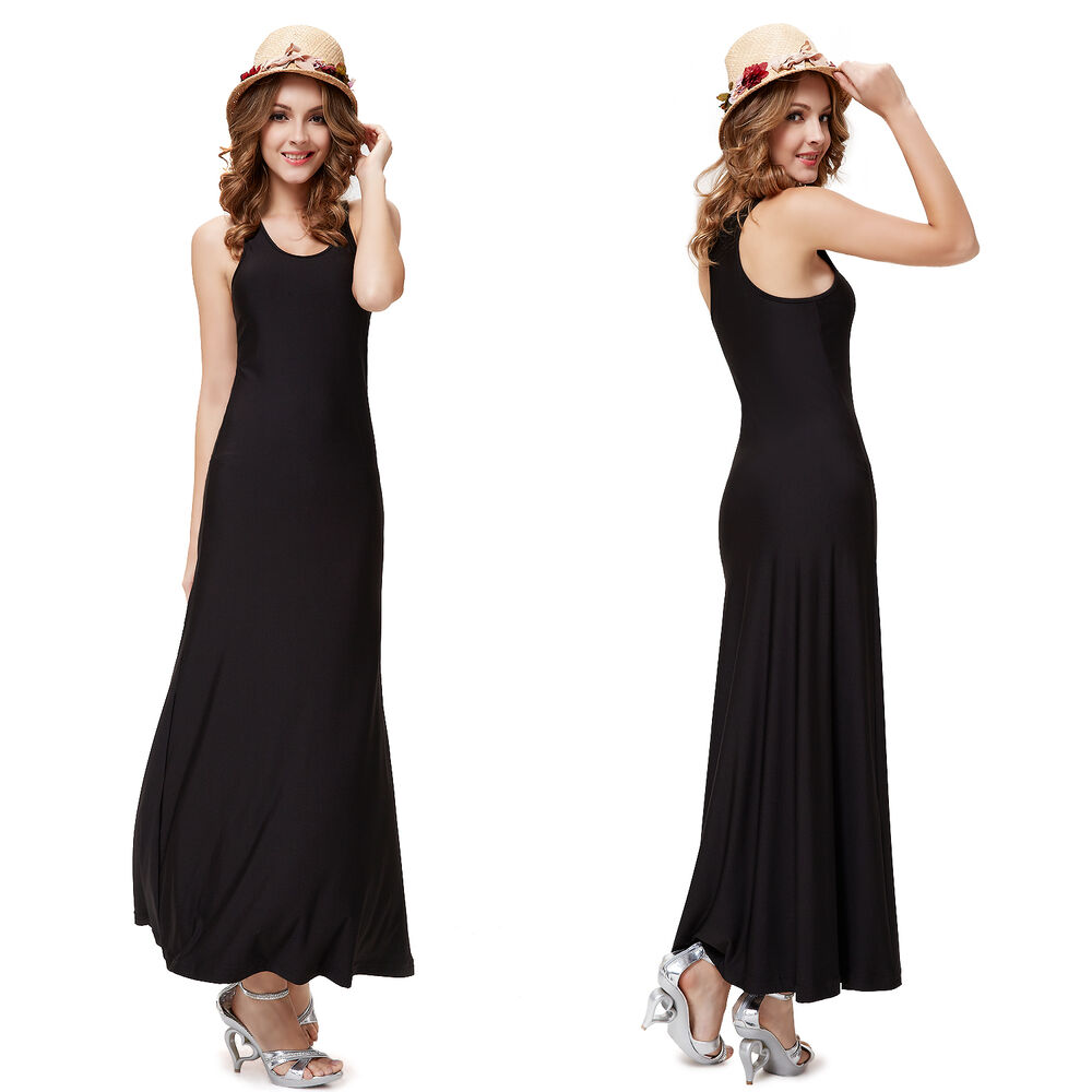 Us Women S Black Long Round Neck Maxi Sleeveless Evening