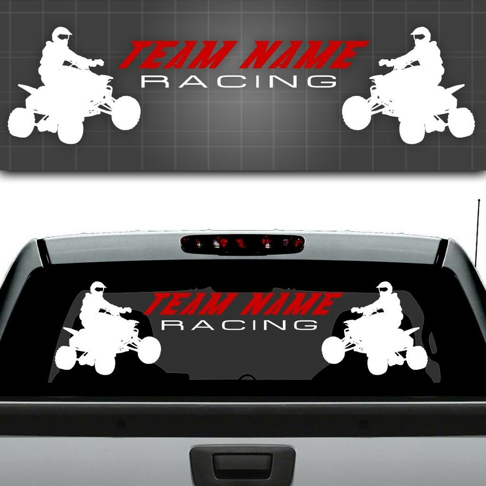 Atv race team graphic quad sticker atv truck window Getting stickers off glass