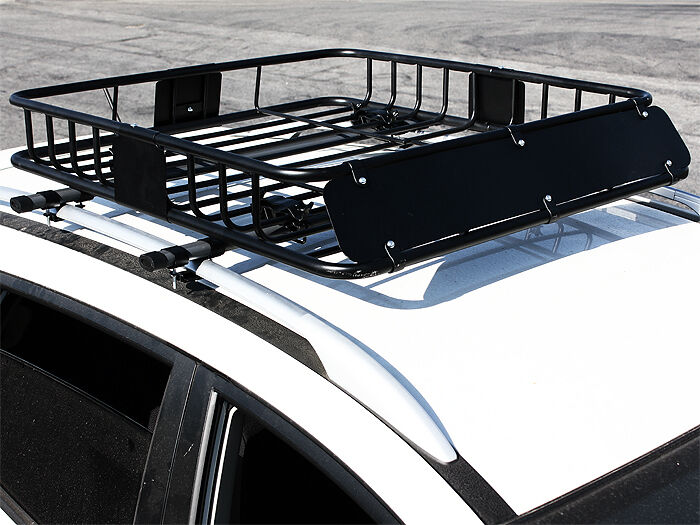 Hd Black Steel Roof Basket Carrier Rack Car Top Luggage