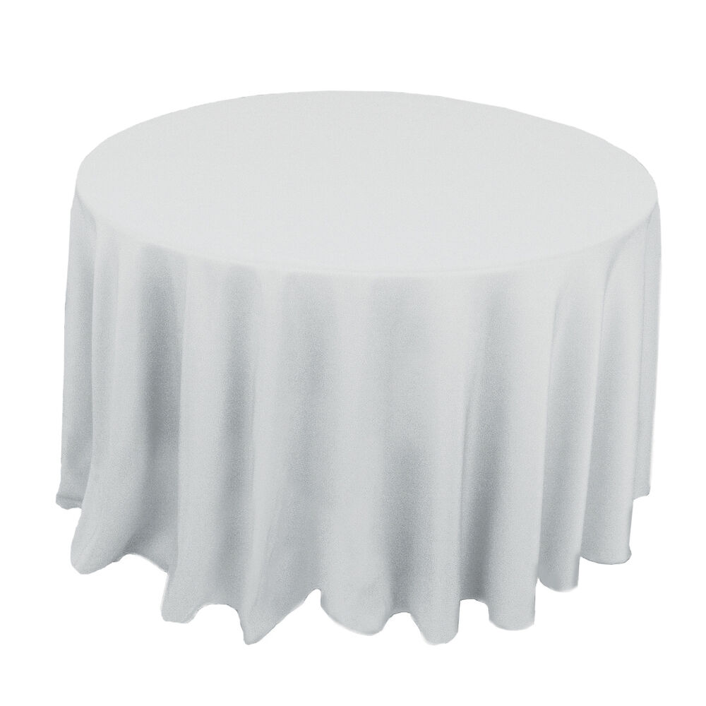 White 120 in round polyester tablecloth tablecloths for 120 round table cloths