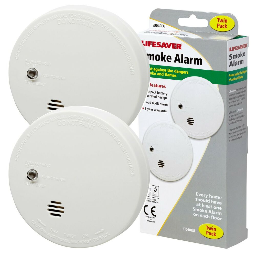 2 x kidde lifesaver smoke detectors fire alarm ionisation batteries included ebay. Black Bedroom Furniture Sets. Home Design Ideas