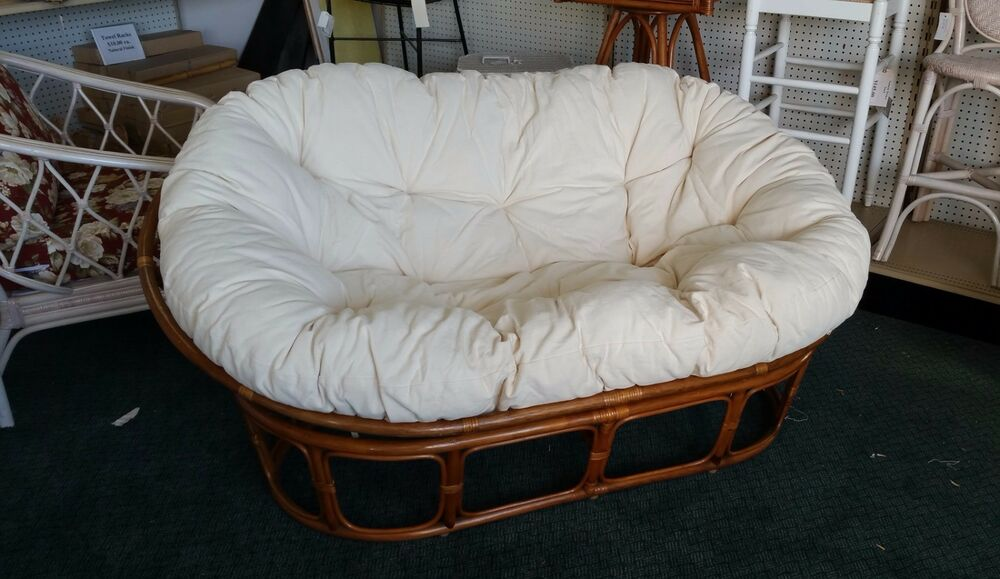 Papasan Loveseat Living Room Wicker Indoor Rattan