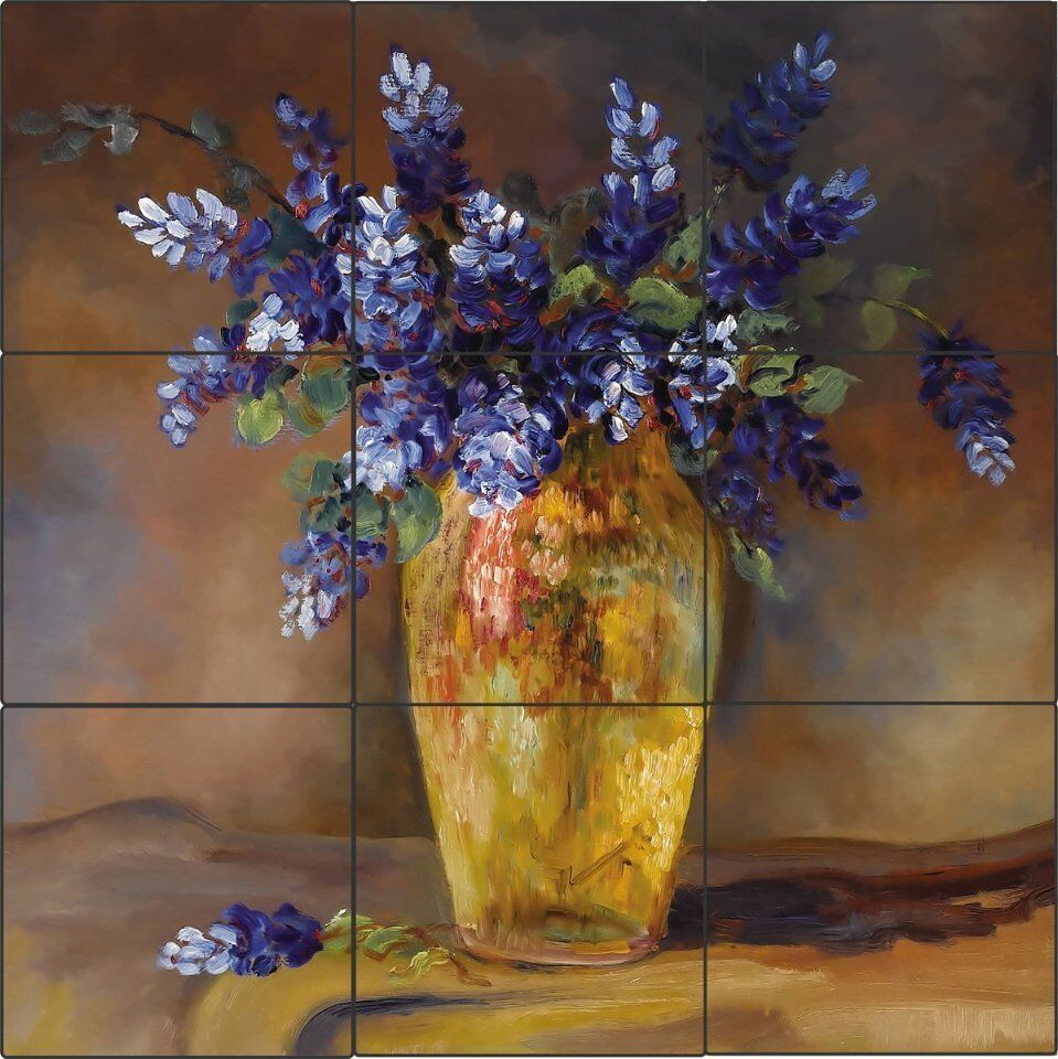 Bluebonnet vase art tile mural kitchen back splash ceramic for Artwork on tile ceramic mural