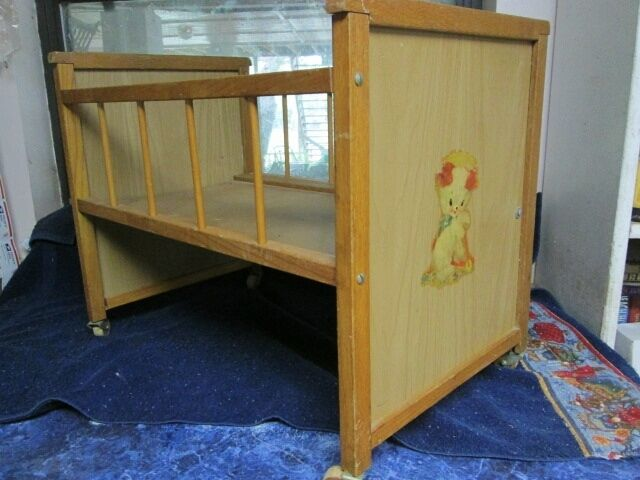 Vintage 1950 S Wood Baby Doll Crib Drop Side Orig