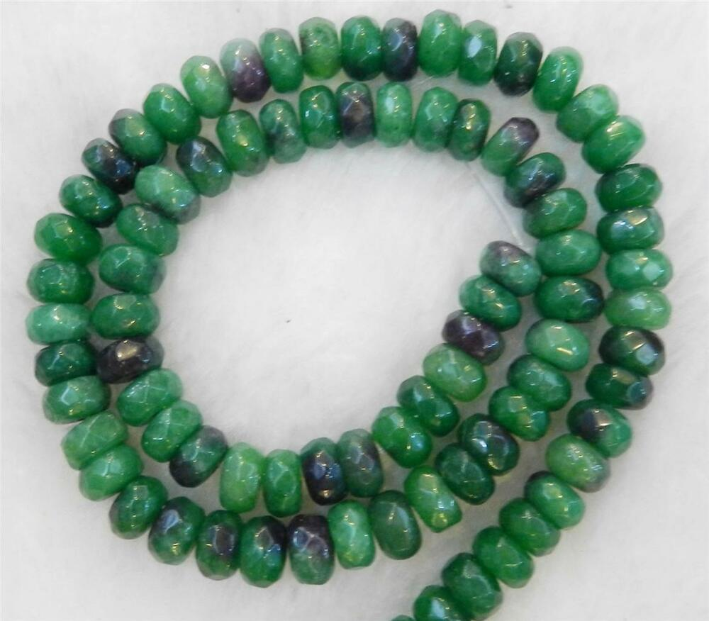 Emerald Bead Beads: Green 5x8mm Faceted Emerald Roundel Loose Beads Gemstone