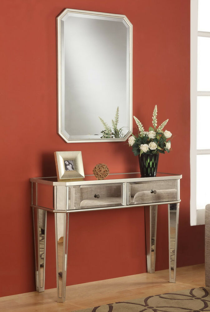 Contemporary Foyer Console : Modern mirrored console accent vanity hall table by powell