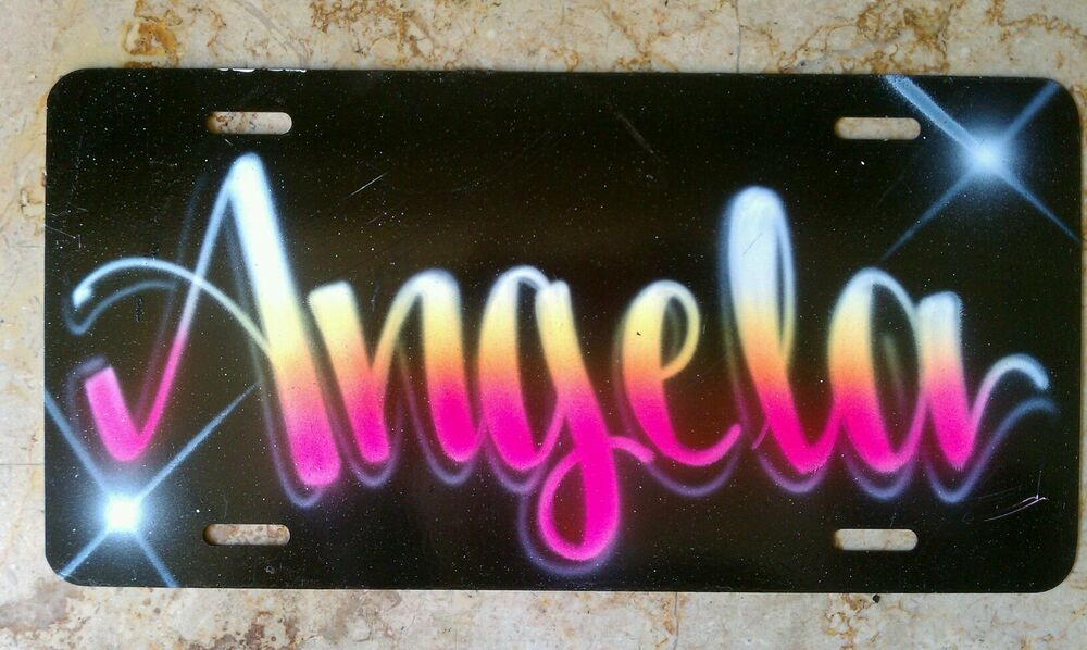 Angela Airbrush Custom License Plate Car Tag Personalized