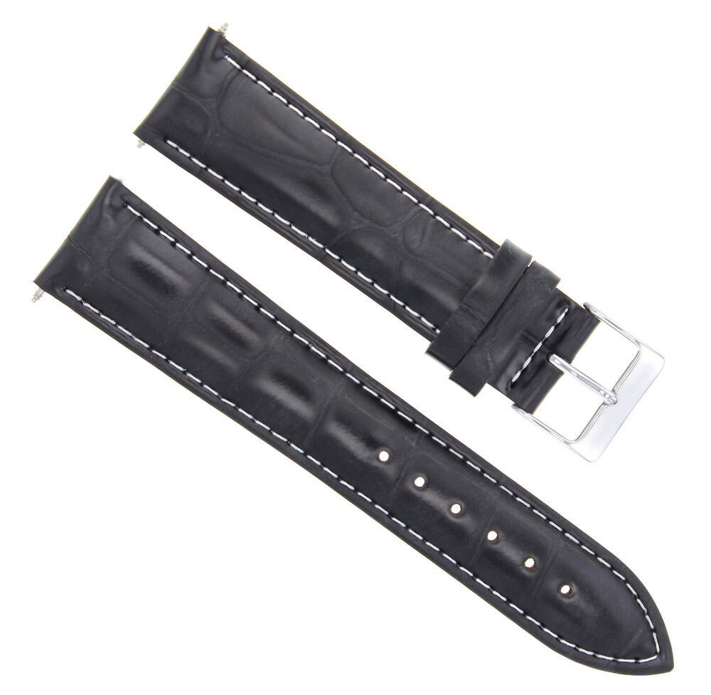 19mm leather watch strap band for longines ws black ebay for Longines leather strap